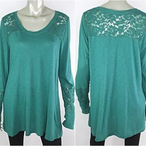 Maurices Plus Size 2X Green Lace Long Sleeve Top
